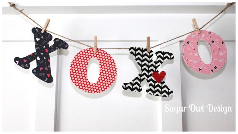 XOXO Valentines Day Banner Valentine Decor Letter Banner Fabric Garland