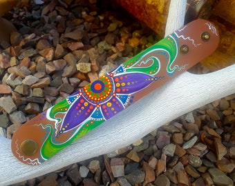 """Hand-painted """"Folk Clematis"""" Leather Cuff Bracelet   Accessories   Jewelry   Wearable Art"""