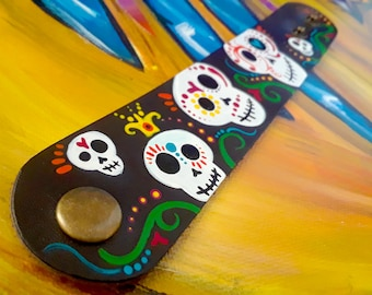"""Hand-painted """"Five Sugar Skulls"""" Leather Cuff Bracelet   Accessories   Jewelry   Wearable Art"""