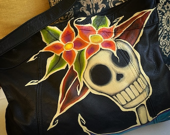 Recycled/Upcycled Day of the Dead Catrina Leather Hand-painted Purse