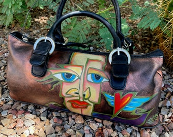 Funky, quirky face hand-painted leather handbag purse accessories