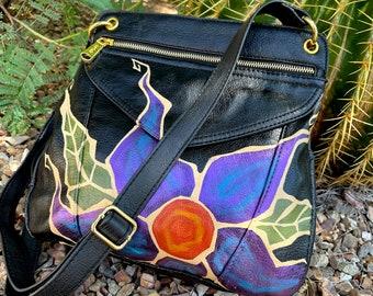 Hand-painted Prince-purple flower vegan leather purse shoulder bag