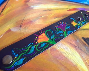 """Hand-painted  """"Tia Maria's Embroidered Dress"""" Leather Cuff Bracelet   Jewelry   Accessories"""