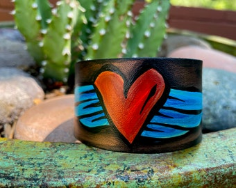 Hand-painted little rustic heart with wings leather cuff bracelet jewelry