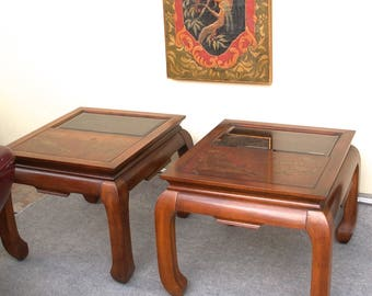 Pair Of Vintage Asian Oriental Chinoiserie Ming Inspired End Tables PICK UP  ONLY