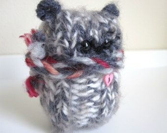 Woolly Winter Bear, Soft Plush Toy, Stuffed Animal Doll, Gray and Cream Bear with pink heart