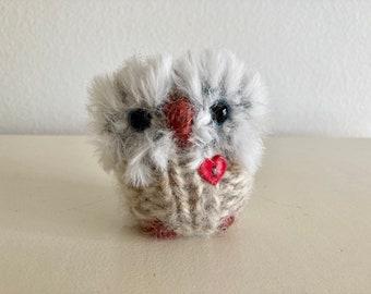 Little Oatmeal Love Owl, Art Doll, hand knit woolly plush cozy owl, red heart