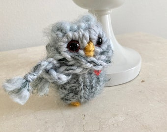 Little Winter Snow Owl, Plush Knitted Wooly Love Owl