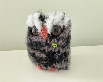Hand Knitted Wool Love Owl, Bookshelf Owl, Woodland Decor