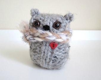 Sweet Little Plush Wool Bear, Knitted Grey Bear, Valentine Bear