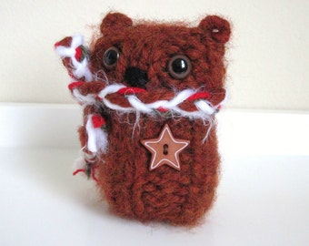 Wool Cinnamon Bear, Little Winter Bear, Teddy Bear, Plush Animal Doll, Hand Knitted Bear, Christmas Bear