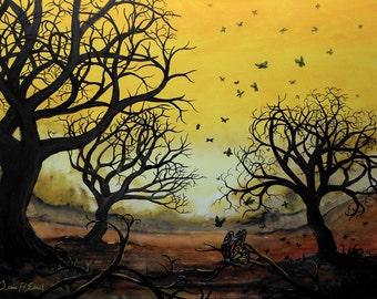 landscape /'Strange Orange/' by Jessie Edsall art Limited Signed Print trees