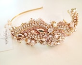 Rose Gold Crystal Bridal Headpiece- SWAROVSKI- Rhinestone, Sequin and Pearl Bridal Hairpiece