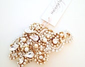 Crystal and Pearl Bridal Comb- One-of-a-Kind Hand-Beaded