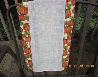 White Burlap Pumpkin Table Runner