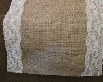 """Burlap and lace table runner, centerpiece, rustic chic, 12"""" and 14"""" wide"""