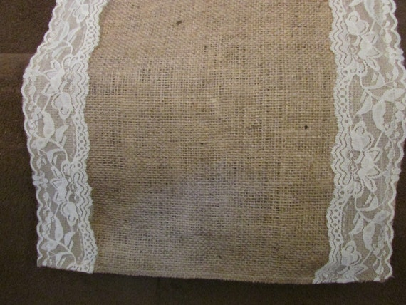 Burlap And Lace Table Runner 12 14 Wide Etsy