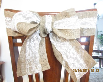 Burlap and Lace Chair Sash or Bow