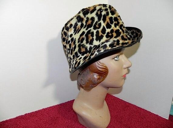 Vintage 1960s Leopard Hat - Cool 60s Faux Leopard