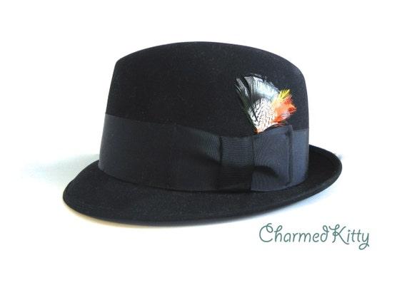 Vintage Men's Hat 60s Stetson Black Pork Pie Hat ,