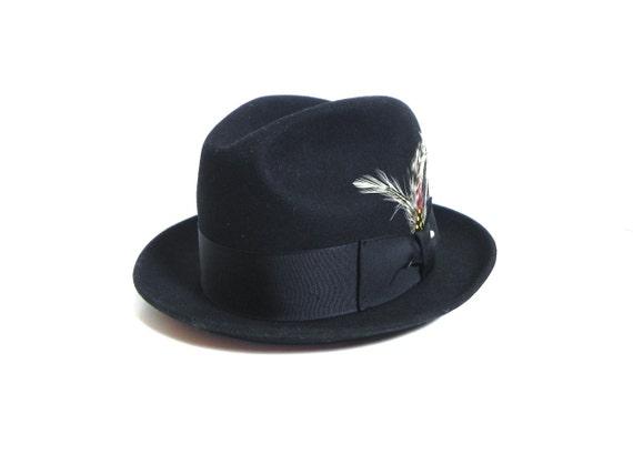 Vintage Mens Hat Black Pork Pie Trilby Hat  dead s