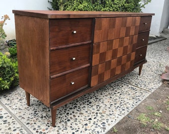 MILIEU du siècle moderne 9 tiroirs commode/changer Table/Media Support/vanité salle de bain (Los Angeles)