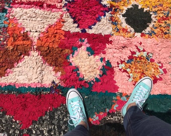 "SALE-FREE Shipping!!! ""PEMBE"" Boho Chic Rug Vintage Moroccan Boucherouite in Multi Colors (Los Angeles)"