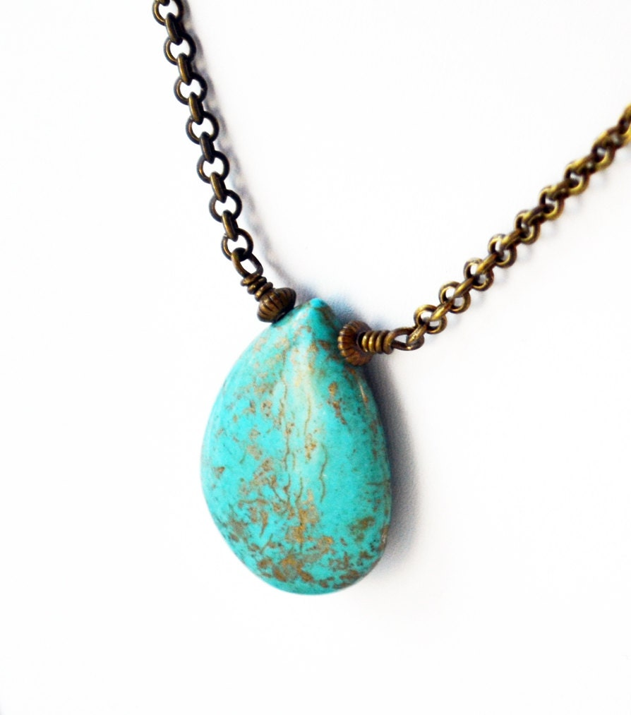 New Collection Turquoise Howlite Brown Suede Cord Bronze Chain Multi Strand Boho Ladies Athens Fashion Greek Gift Necklace
