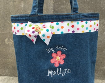 large denim big sister tote bag, embroidered with a sweet pink daisy and personalized at NO additional charge