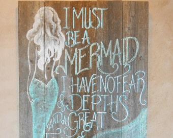 Barnwood Mermaid Sign, Hand Painted, Original, Glittered, Beach