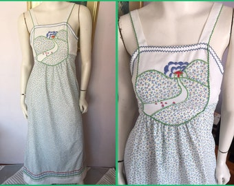 248e540e48f Vintage 70s Green Blue Calico Novelty Embroidered House Maxi Sun Dress.Small.Bust  32-34.Waist 28.