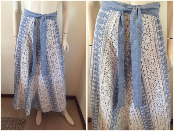 Vintage 70s Chambray Denim Lace Embroidered Maxi S