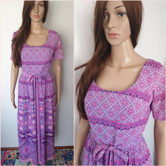 Vintage 60s Purple Psychedelic Mod Maxi Dress by B
