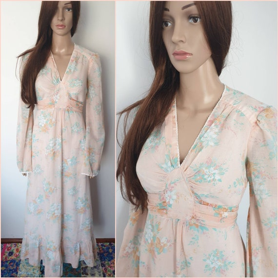 Vintage 70s Peach Green Floral Maxi Dress by Jody