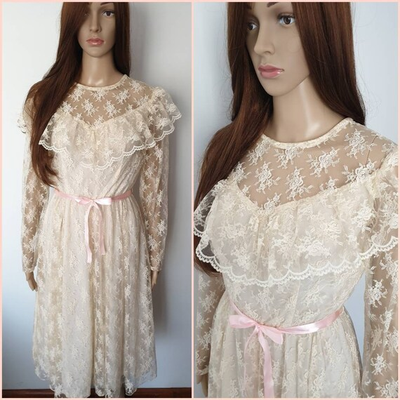 Vintage 70s Cream Lace Victorian Style Midi Dress.