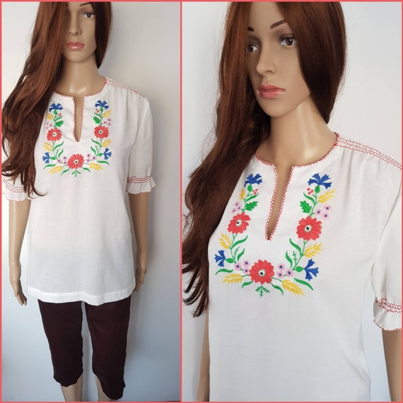 Vintage 70s Hungarian Embroidered Peasant Blouse T
