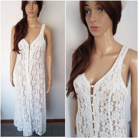 Vintage 90s White Lace Sheer Sun Maxi Dress.S