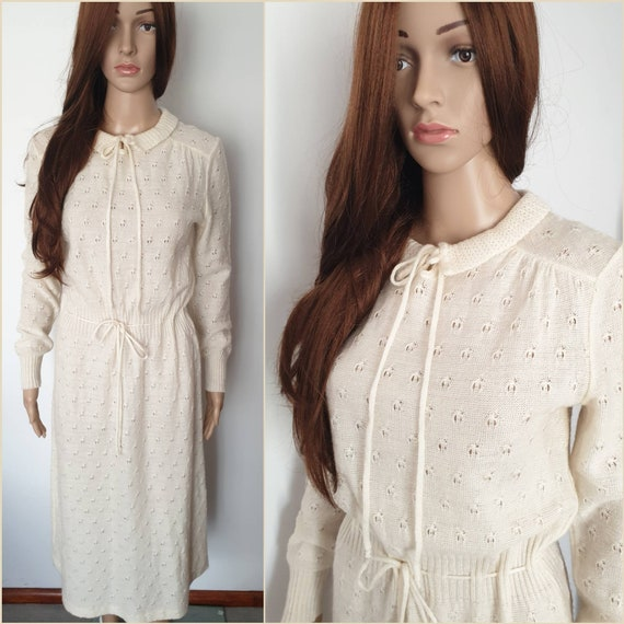 Vintage 80s Cream Wool Mohair Knit Winter Midi Dre