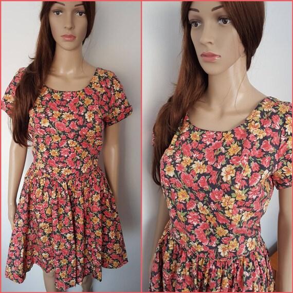 Vintage 80s Laura Ashley Floral Cotton  Mini Dress
