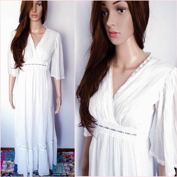 Vintage 70s White Gauze Angel Sleeve Wedding Maxi