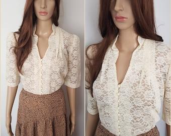Vintage 40/50s Cream Floral Lace Blouse.M/L