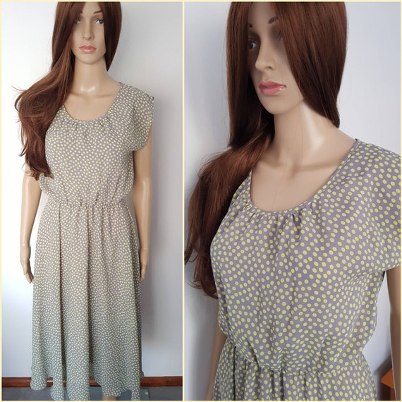Vintage 70s Grey Lime Green Polkadot Midi Dress.M