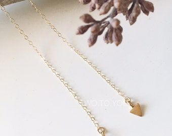 Love Triangle  - 24kt Gold Plated Sterling Silver on 14kt Gold Filled Lariat Choker Necklace- Insurance included in ALL domestic shipping!