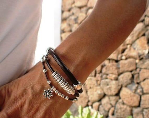 sterling silver multi strand bracelet, beads bracelet, women silver beaded bracelet