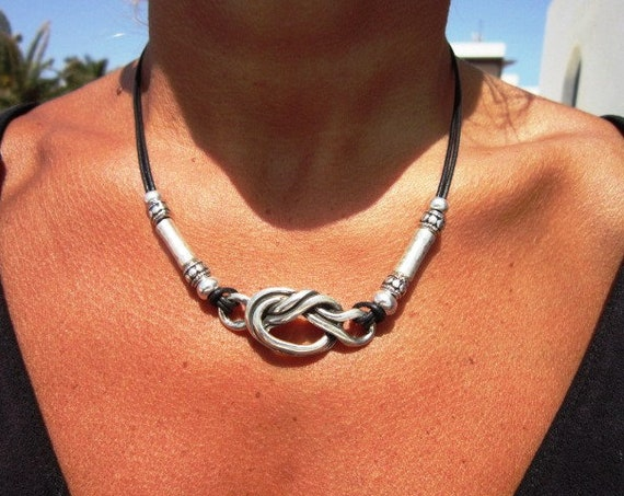 knot statement necklace choker, silver beaded necklace for women, personalized necklace