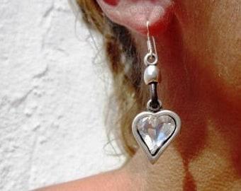 0d3dc8419 heart earrings, love earrings, silver earrings, drop earrings, leather  earrings, sterling silver earrings, dangle earrings, handcrafted