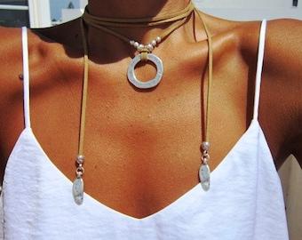 wrap necklace, minimal necklace, Boho bohemian jewelry, hippy gypsy necklaces