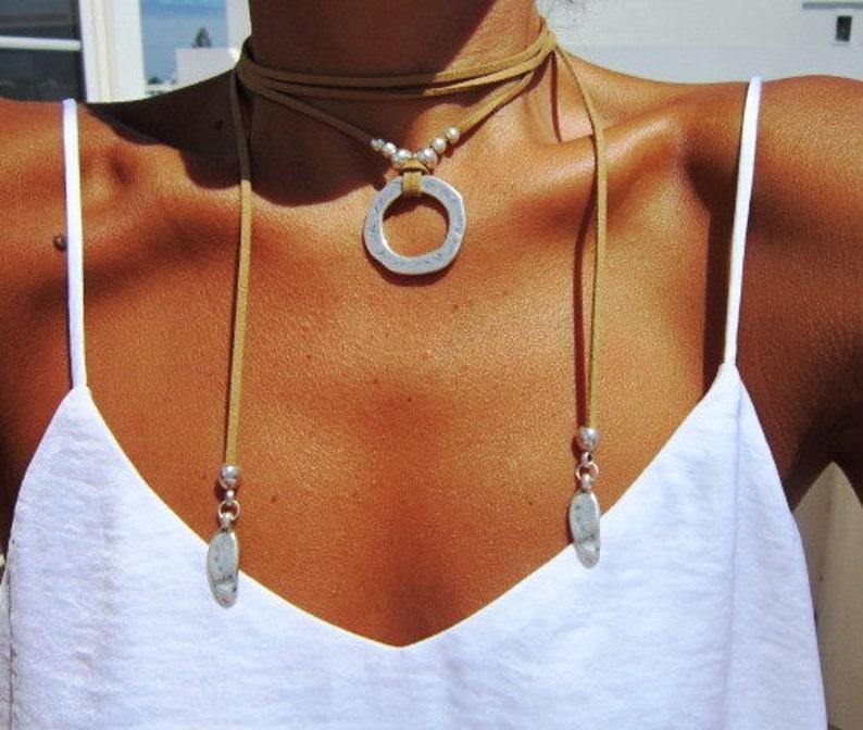 wrap necklace minimal necklace Boho bohemian jewelry hippy image 0