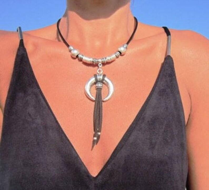 boho jewelry womens necklace horn pendant necklace bohemian necklace horn necklace horn choker bohemian jewelry boho necklace