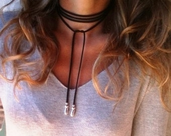 Trendy leather choker, leather and silver beaded necklace. Bohemian jewelry, choker necklace